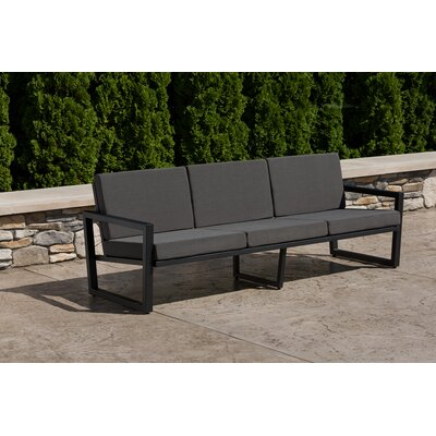 Vero Sofa with Cushion Fabric: Charcoal, Finish: Textured Black