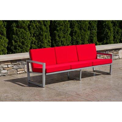 Vero Sofa with Cushion Finish: Gloss Silver, Fabric: Logo Red