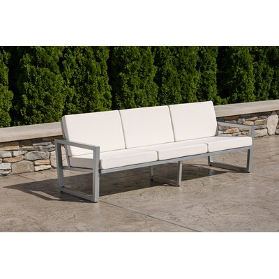 Vero Sofa with Cushion Finish: Gloss Silver, Fabric: Sky Blue