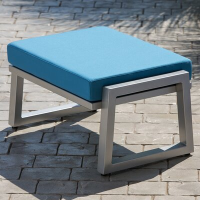 Vero Ottoman with Cushion Finish: Gloss Silver, Fabric: Sky Blue
