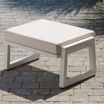 Vero Ottoman with Cushion Fabric: Birds Eye, Finish: Textured White
