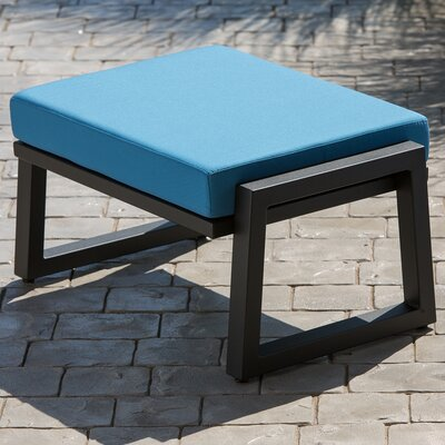 Vero Ottoman with Cushion Fabric: Sky Blue, Finish: Textured White