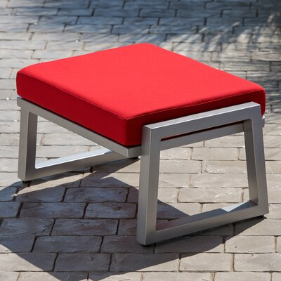 Vero Ottoman with Cushion Finish: Gloss Silver, Fabric: Logo Red