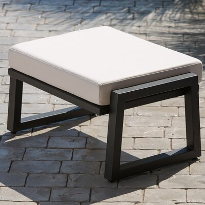 Vero Ottoman with Cushion Fabric: Birds Eye, Finish: Textured Black
