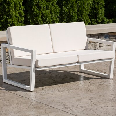 Vero Loveseat with Cushions Finish: Textured White, Fabric: Birds Eye