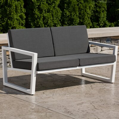 Vero Loveseat with Cushions Fabric: Charcoal, Finish: Textured White