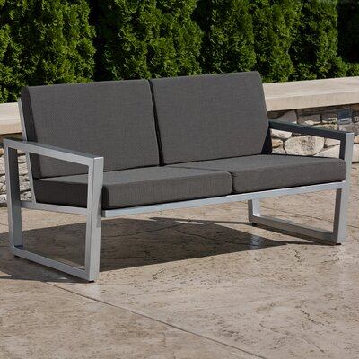 Vero Loveseat with Cushions Fabric: Charcoal, Finish: Gloss Silver