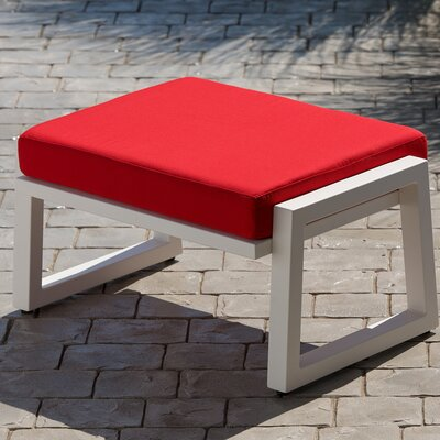 Vero Ottoman with Cushion Fabric: Logo Red, Finish: Textured White