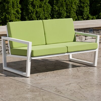 Vero Loveseat with Cushions Finish: Textured White, Fabric: Ginko