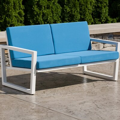 Vero Loveseat with Cushions Finish: Textured White, Fabric: Sky Blue