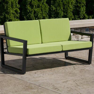 Vero Loveseat with Cushions Fabric: Ginko, Finish: Gloss Silver