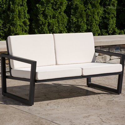 Vero Loveseat with Cushions Finish: Textured Black, Fabric: Birds Eye