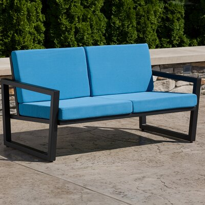 Vero Loveseat with Cushions Finish: Textured Black, Fabric: Sky Blue