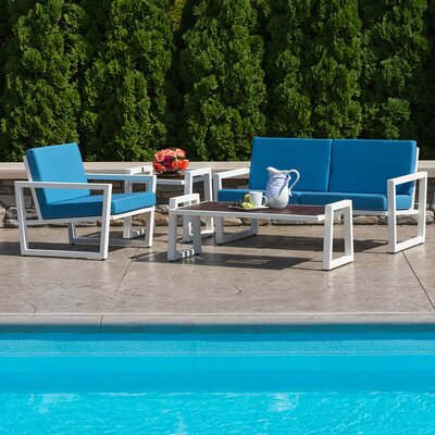 Vero 4 Piece Lounge Seating Group with Cushions Finish: Gloss Silver, Fabric: Birds Eye