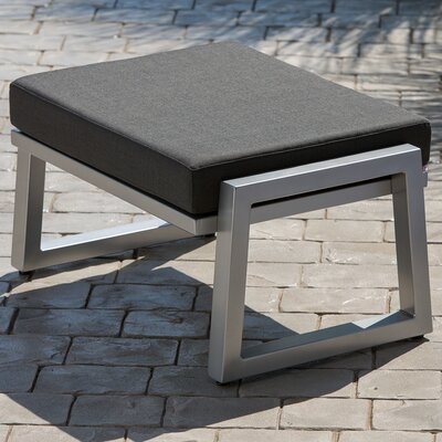 Vero Ottoman with Cushion Finish: Gloss Silver, Fabric: Charcoal