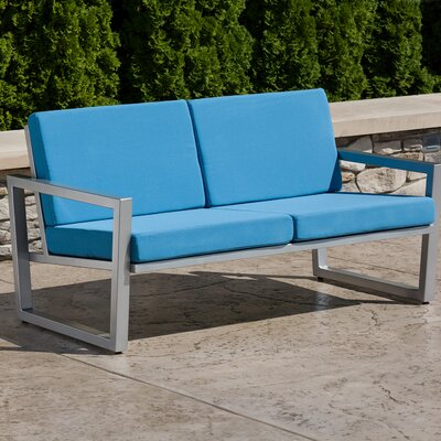 Vero Loveseat with Cushions Fabric: Sky Blue, Finish: Gloss Silver