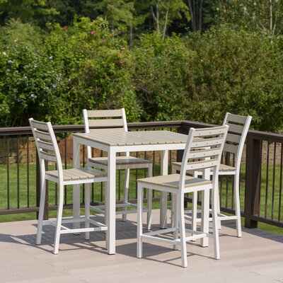 Loft 5 Piece Bar Set Finish: Sand, Frame Finish: White