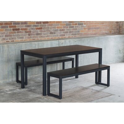 Loft 3 Piece Dining Set Finish: Textured Black