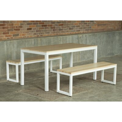 Loft 3 Piece Dining Set Finish: Textured White