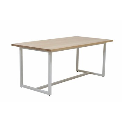 Port Dining Table 72x36 Base Finish: Textured White, Top Finish: Maple