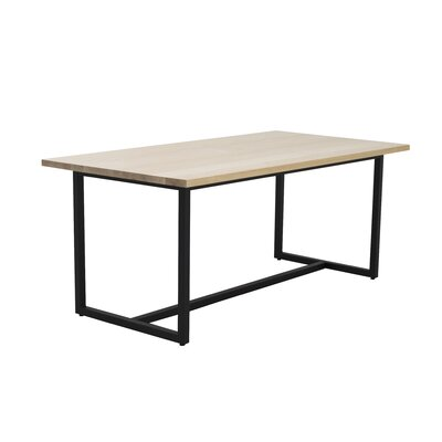 Port Dining Table 72x36 Base Finish: Textured Black, Top Finish: Maple