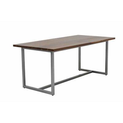 Port Dining Table 72x36 Base Finish: Gloss Silver, Top Finish: Walnut
