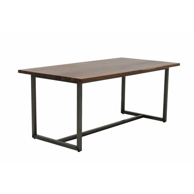 Port Dining Table 72x36 Base Finish: Textured Black, Top Finish: Walnut