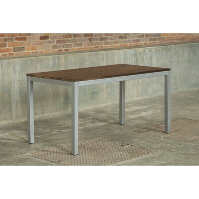 Loft 60x30 Dining Table Base Finish: Gloss Silver, Top Finish: Walnut