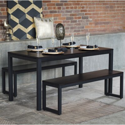 Loft 3 Piece Dining Set Finish: Onyx / Checker Black