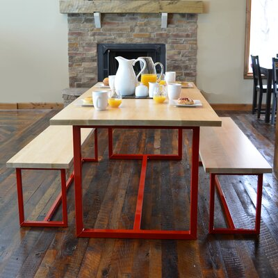 Port 3 Piece Dining Set Base Finish: Firehouse Red, Top Finish: Maple