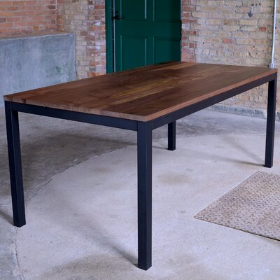 Loft Dining Table Base Finish: Black, Top Finish: Walnut