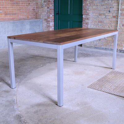 Loft Dining Table Base Finish: Gloss Silver, Top Finish: Walnut