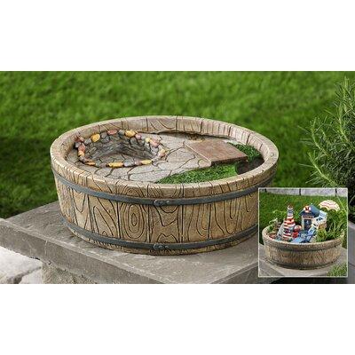 Barrel and Cobblestone Garden Decoration 705908