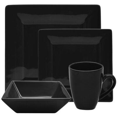 Ten Strawberry Street Nova 16 Piece Square Dinnerware Set - Color: Black at Sears.com