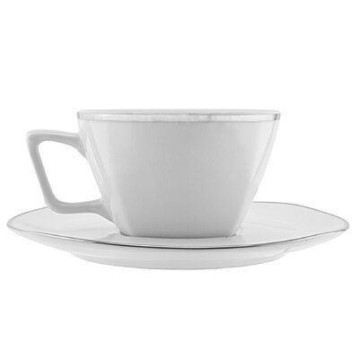 Ten Strawberry Street Lotus Silver Line 6 oz. Cup and Saucer (Set of 6) LOTUS-9SL