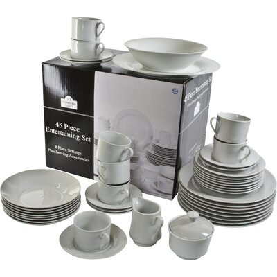 Reef 45 Piece Dinnerware Set, Service for 8 SM-4500-RD-W