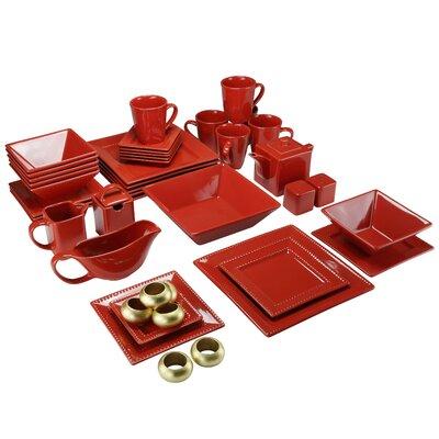Nova Square Beaded 43 Piece Dinnerware Set, Service for 6 NOVA45REDSQBD