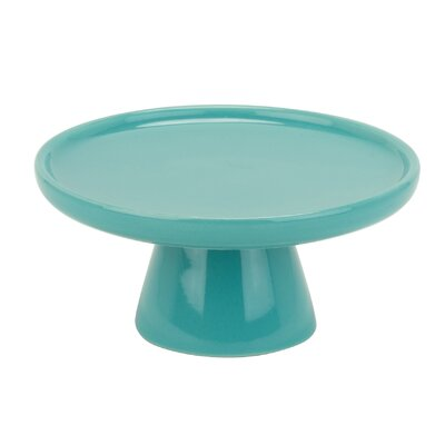 Latitude Run Allender Turquoise Porcelain Cake Stand