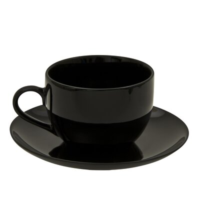 Ten Strawberry Street Black Coupe 8 oz. Teacup and Saucer (Set of 6) BCP0009