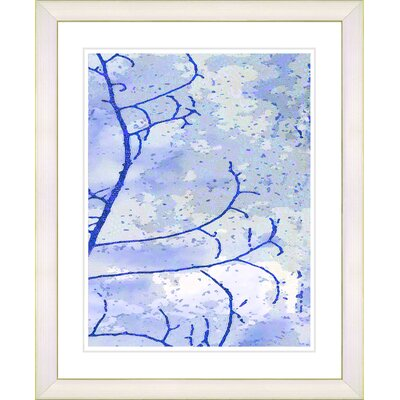 """Filigree Flower Branches - Blue"""" by Zhee Singer Framed Graphic Art in Blue Frame Color: Creamy White d828d-1095B-16x20WV-O3"""