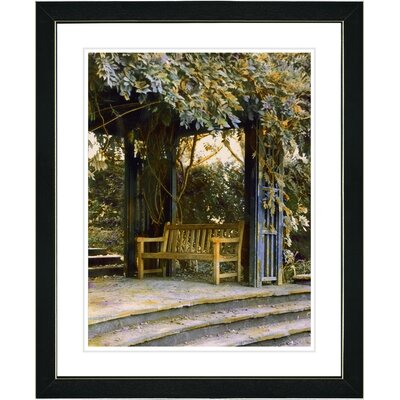 "Garden Bench"" by Mia Singer Framed Painting Print s02-15B-16x20BV-M"
