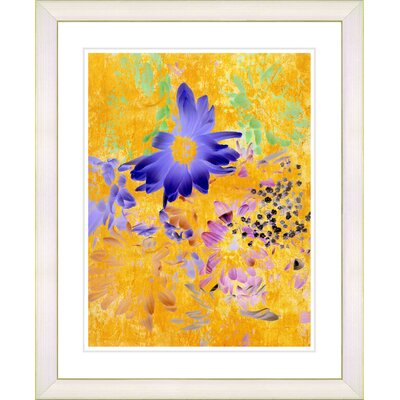 """Yellow Daisy Cups - Blue"""" by Zhee Singer Framed Painting Print n575-215B-16x20WV"""