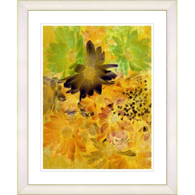 """Yellow Daisy Cups - Mocca"""" by Zhee Singer Framed Painting Print n576-1113B-16x20WV"""