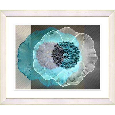 'Daybreak Flower' Framed Graphic Art on Paper in Turquoise Size: 16
