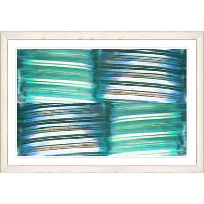 'Abstract Turquoise Chiclets' Framed Acrylic Painting Print on Paper Frame Color: White