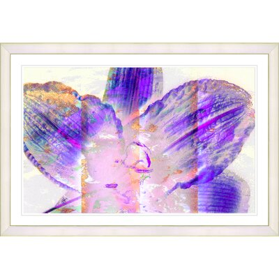 'Abstract Floral Still Life Painting Purple Mist Flower' Framed Acrylic Painting Print on Paper Frame Color: White