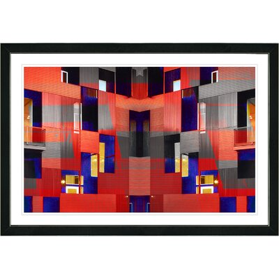 'Abstract Red Atrium Labyrinth' Framed Graphic Art Print on Paper Frame Color: Black