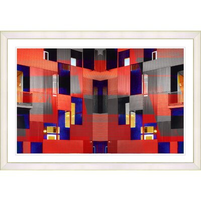 'Abstract Red Atrium Labyrinth' Framed Graphic Art Print on Paper Frame Color: White