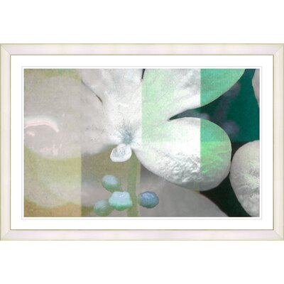 'Abstract Floral Still Life Teal Chelsea Flower' Framed Graphic Art Print on Paper Frame Color: White
