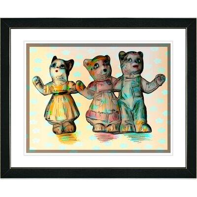 "Studio Works Modern ""Cat Family"" Framed Art - Frame Color: Black, Color: Yellow at Sears.com"